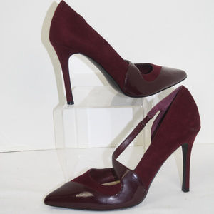 BCBG Tianah Burgundy Patent and Faux Suede Size 7